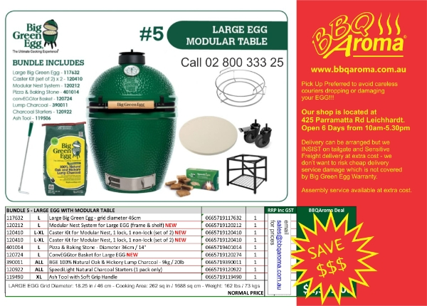 B5 - Large Big Green Egg w Modular Table - A great range of