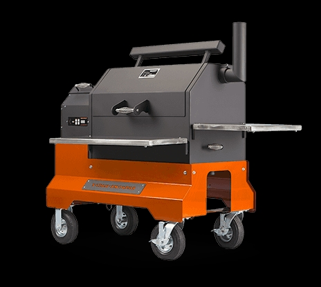 YS640 Pellet Grill on Orange Competition Cart